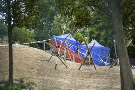 Aftermath: The scene at the time Alexia was injured in the Mile End park