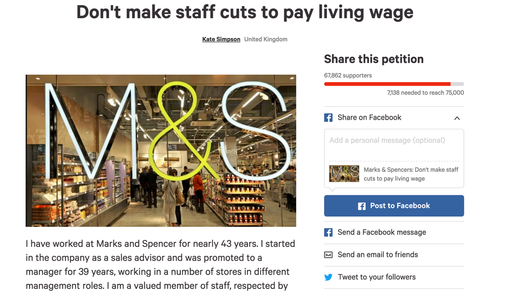 Empowered: More than 60,000 people have signed Kate's petition against cuts to pay