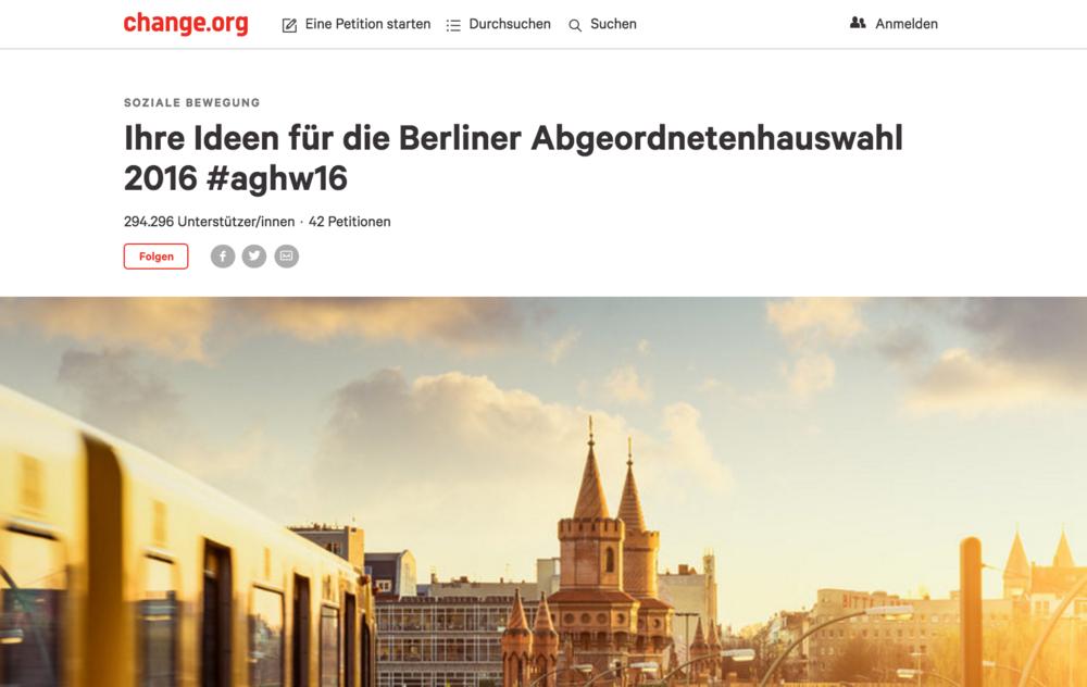 So sieht sie aus: die Wahl in Berlin auf Change.org