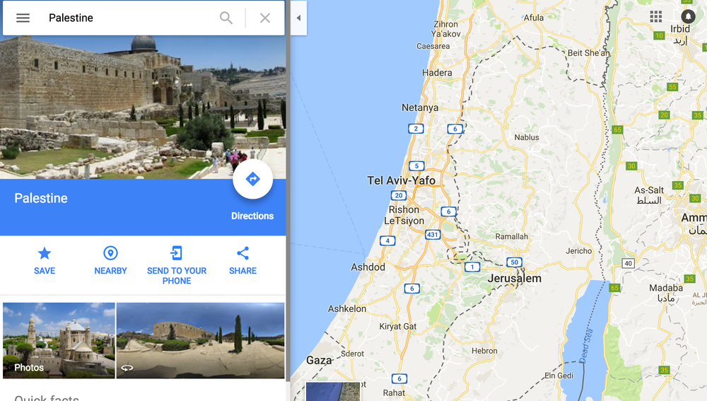 """Grievious insult"": Palestine does not appear on the Google Maps App"