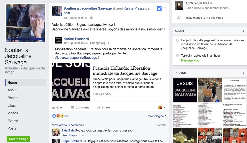 """Page Facebook """"Soutien à Jacqueline Sauvage"""""""