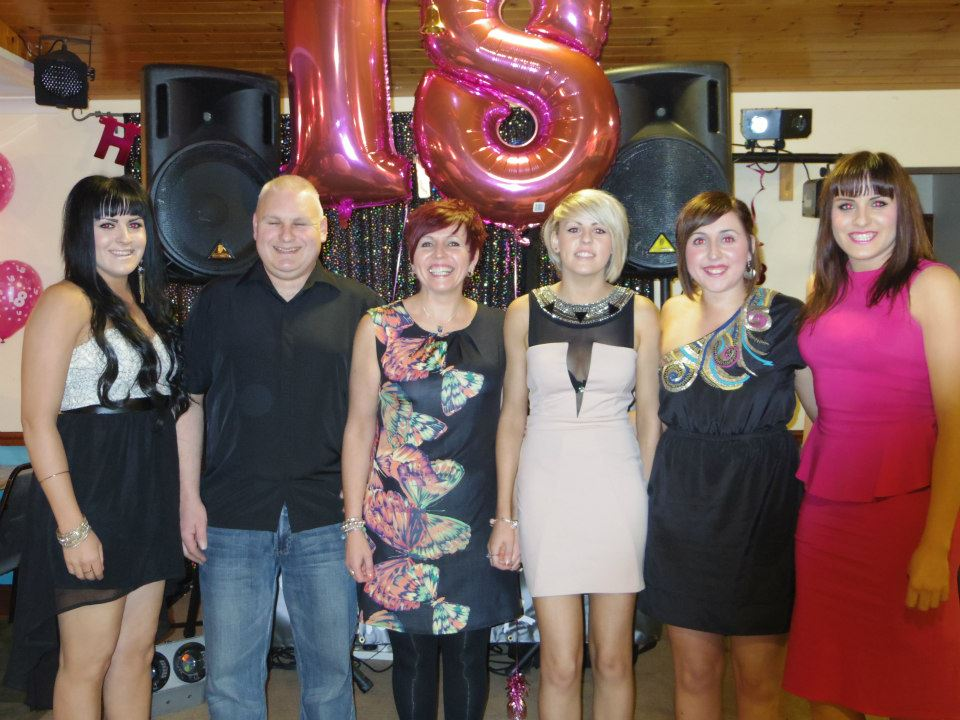 Happier times: From left to right, Megan, Richard, Ceinwen, Lowri, Katie-Ann and Miriam