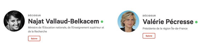 Les profils Décideurs de Najat Vallaud-Belkacem et de Valérie Pécresse sur Change.org