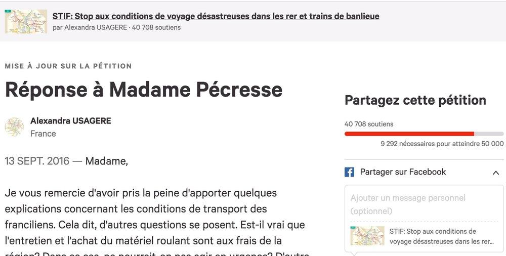 Valérie Pécresse a répondu à la pétition d'une usagère des transports en commun qui demande des mesures pour améliorer les conditions de transport.