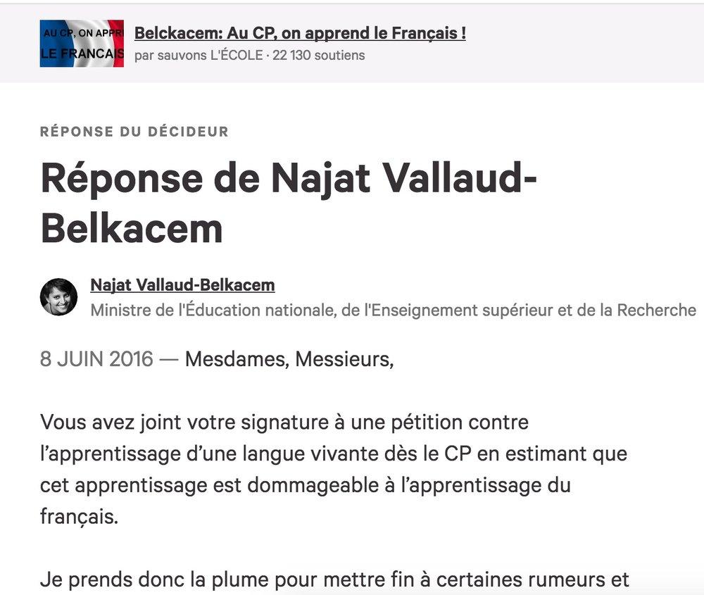 La réponse de Najat Vallaud-Belkacem à l'une des pétitions concernant l'enseignement de l'arabe au CP.