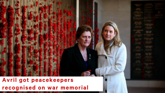 Avril successfully petitioned for peacekeepers to be recognised, on behalf of her son who was killed at just 21