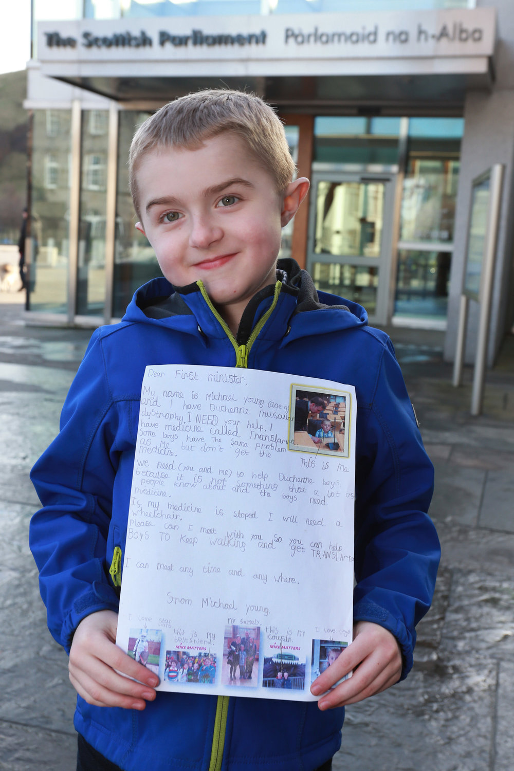 A fighter: 9 year old Michael's personal appeal to the First Minister