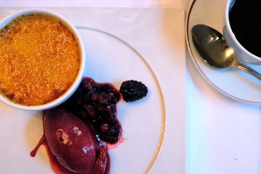 Crème Brûlée with forest berries sorbet