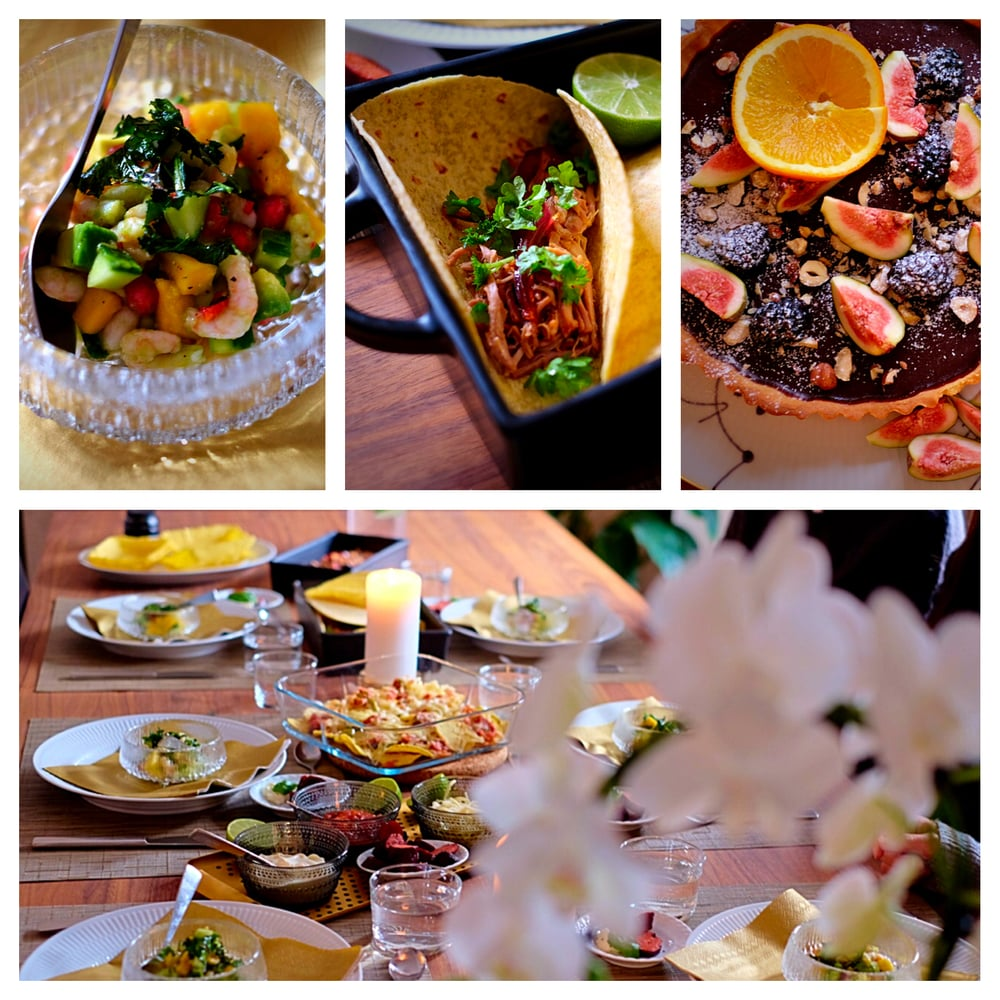 Prawn ceviche, soft tacos with braised pork & chocolate tart with fruit salad