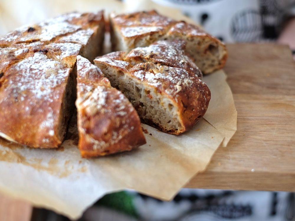No-knead chorizo bread