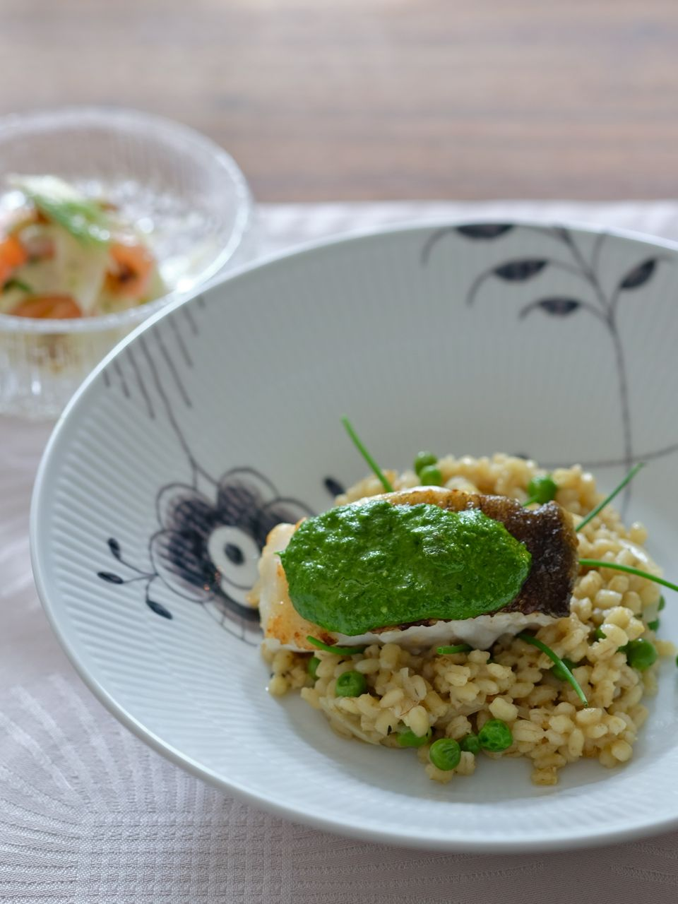 Pan-fried cod with chive pesto & barley risotto