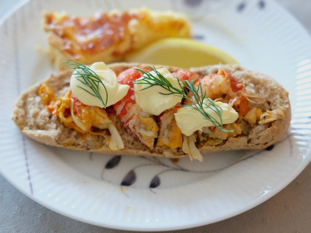 Crayfish open sandwich