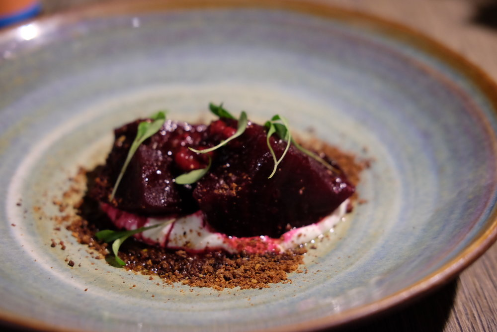 Beetroot cooked in compost, raspberries & goat yoghurt