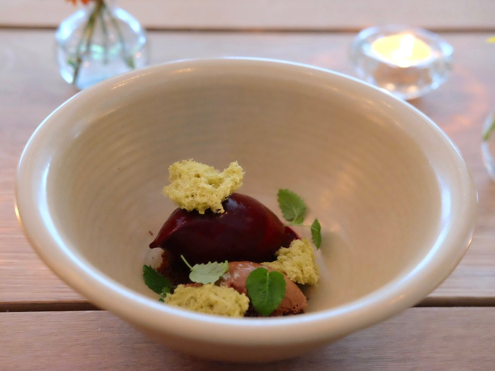 Blueberry sorbet, milk chocolate mousse and pistachio sponge (blueberries were handpicked by the owners in Nordmarka!)