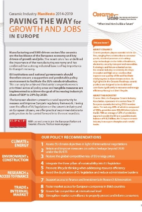 Ceramic Industry Manifesto: Paving the way for growth and jobs in Europe (2014)