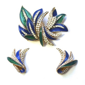 Ciner Art Deco Glam Earrings; 1970s Ciner earrings