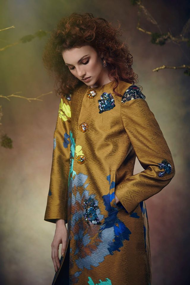 Fall 2016 Collection - Hand painted, beaded silk brocade coat (one of a kind)