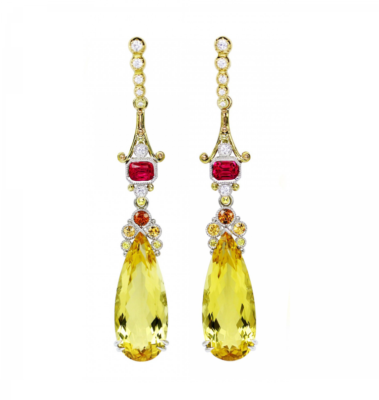 YELLOW BERYL PAGODA EARRINGS