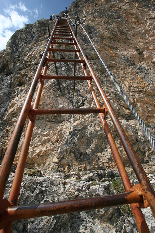 Two vertical ladders - My 'favourite' part of the VF