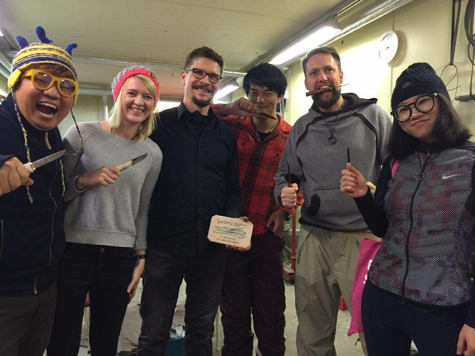 Our great teacher Jouni and the #polarnightmagic team with our new handmade knifes