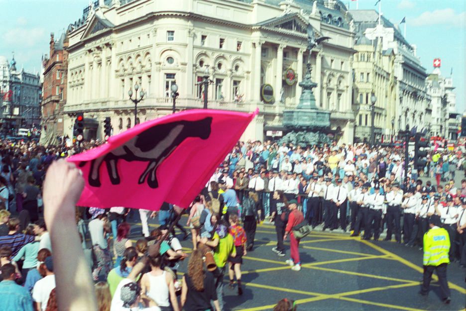 1st Anti CJA March London Trafalgar Sq 1 May 94