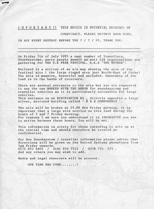 The Criminal Justice and Public Order Act had passed into law with Royal  Assent on Nov 3rd 1994. The campaign of opposition against it had proved to  be the ...