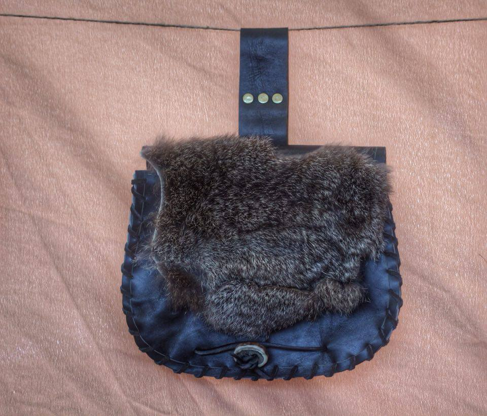 black leather bag with fur trim  £35