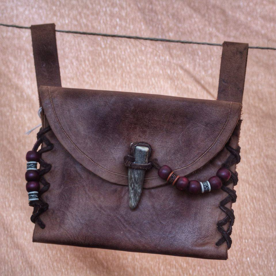 small brown leather beaded purse and stag antler fastener  £28