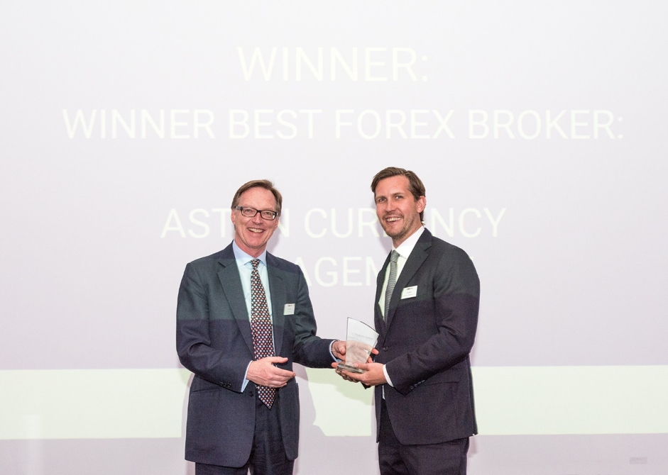 James Bennett, Senior Partner of Aston Currency Management receives the award on behalf of the Aston team
