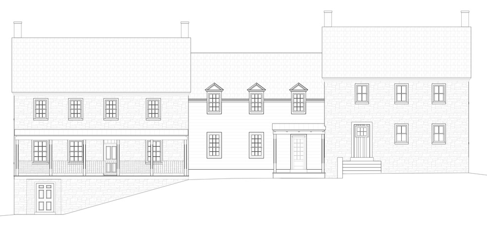 Design for an infill addition between 2 stand alone 19th century stone farmhouses.  Completed project pictured below.