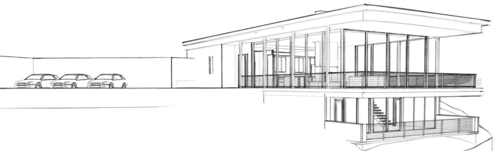 Design for a modern glass, steel and concrete home overlooking a ravine.  Scheduled for construction in 2016.