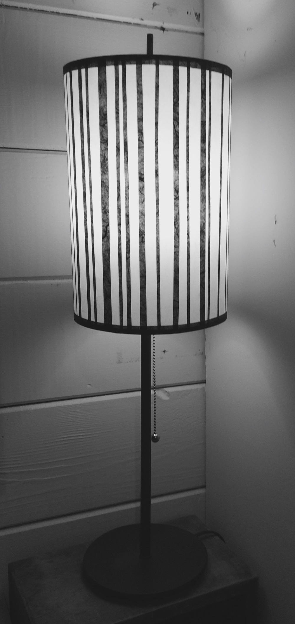 STRIPE LAMP -  black paper collaged over white paper