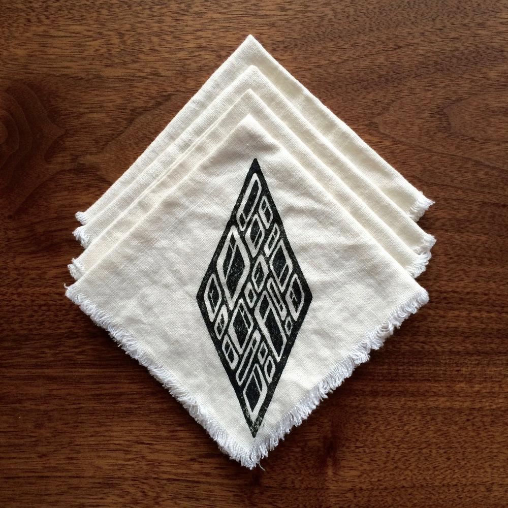 LINEN NAPKINS - hand block print on linen