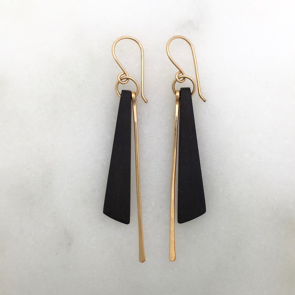CORA EARRING - ebony and 14k gold fill
