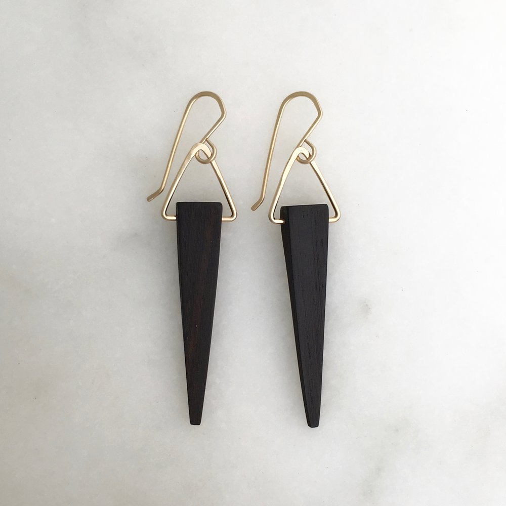 SASHA EARRING - ebony and 14k gold fill