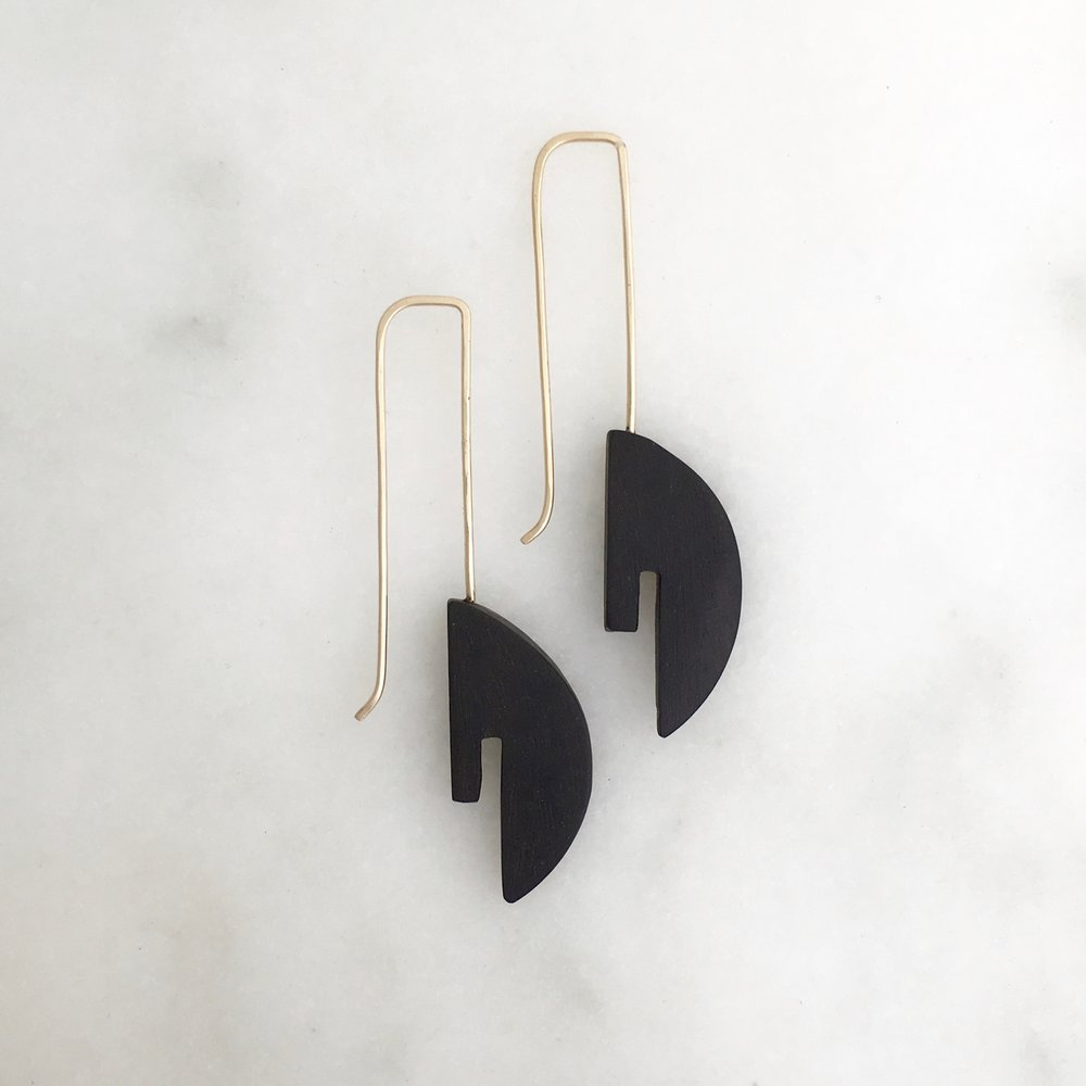 DECO EARRING - ebony and 14k gold fill