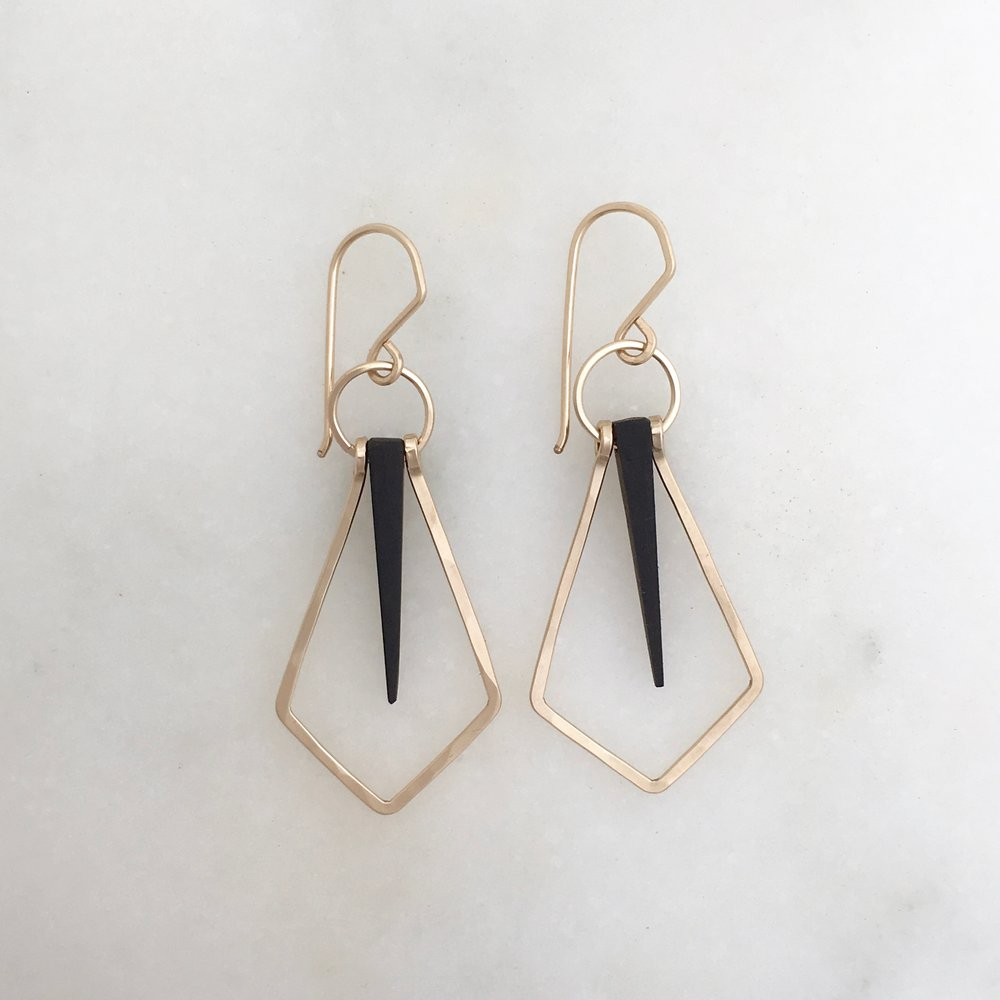 DIAMOND SPIKE EARRING - ebony and 14k gold fill