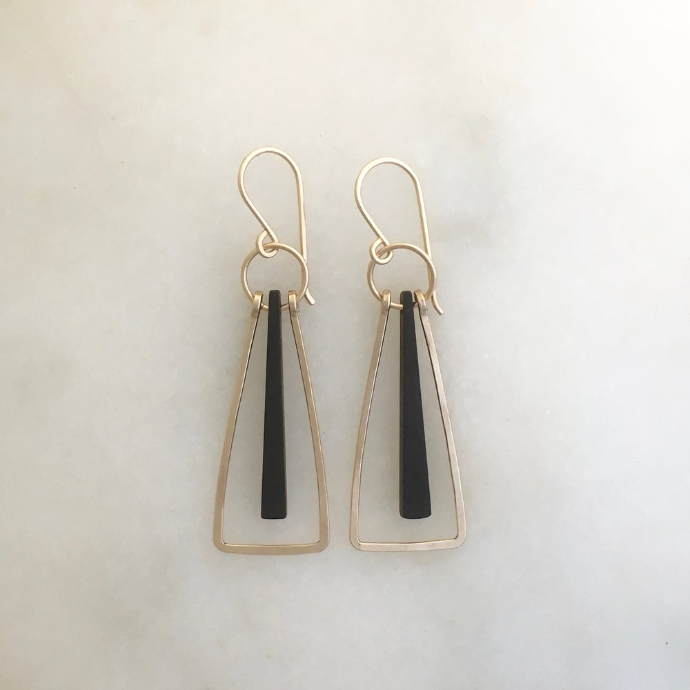 ADEL EARRING - ebony and 14K gold fill