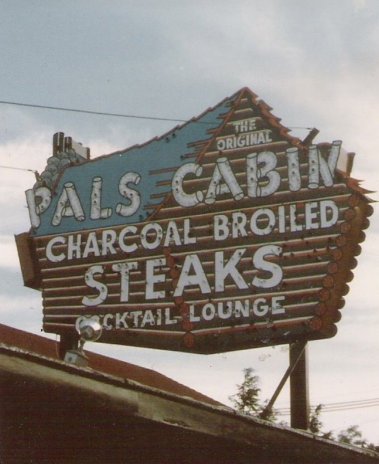 Photo of the original Pals Cabin sign.