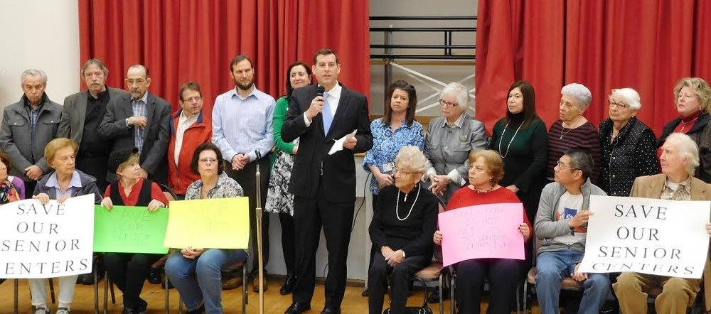 Assemblyman Braunstein, Senator Stavisky, & Assemblywoman Rozic Join Seniors at SelfHelp to Protest Governor's Proposed Cuts to Senior Centers