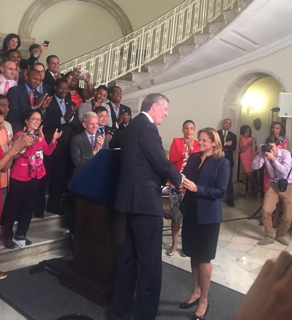 Mayor Bill de Blasio, City Council Speaker Melissa Mark-Viverito and City Council Members at budget handshake Press Conference on June 2, 2017.