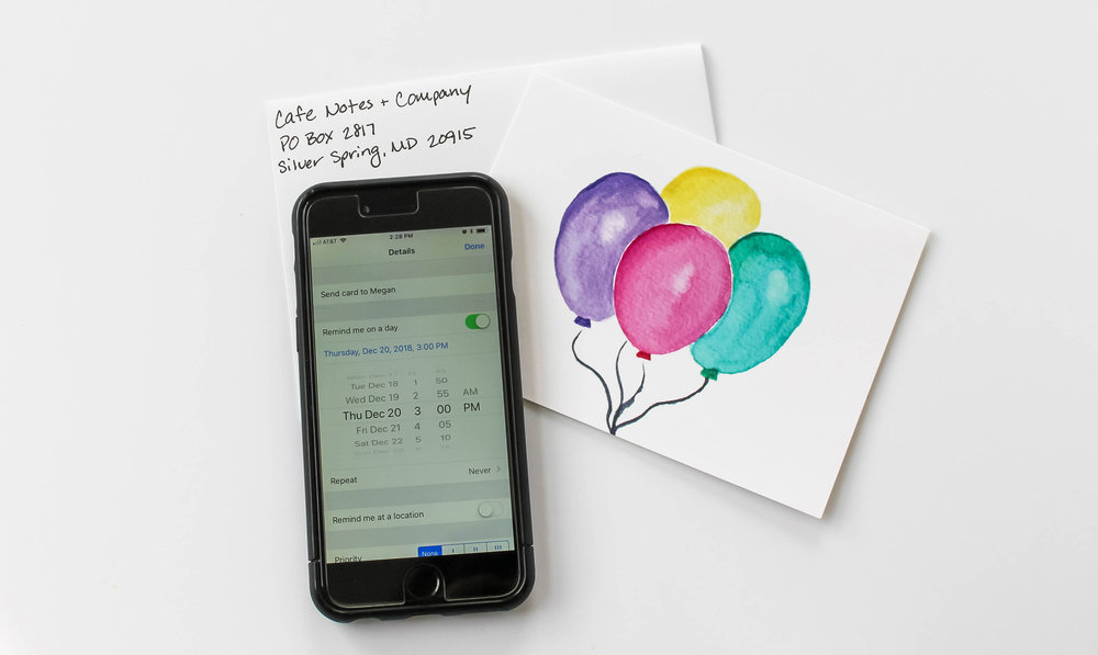 Cafe Notes + Company How To Never Miss an Important Date Tech Tools - Phone Card Envelope.jpg