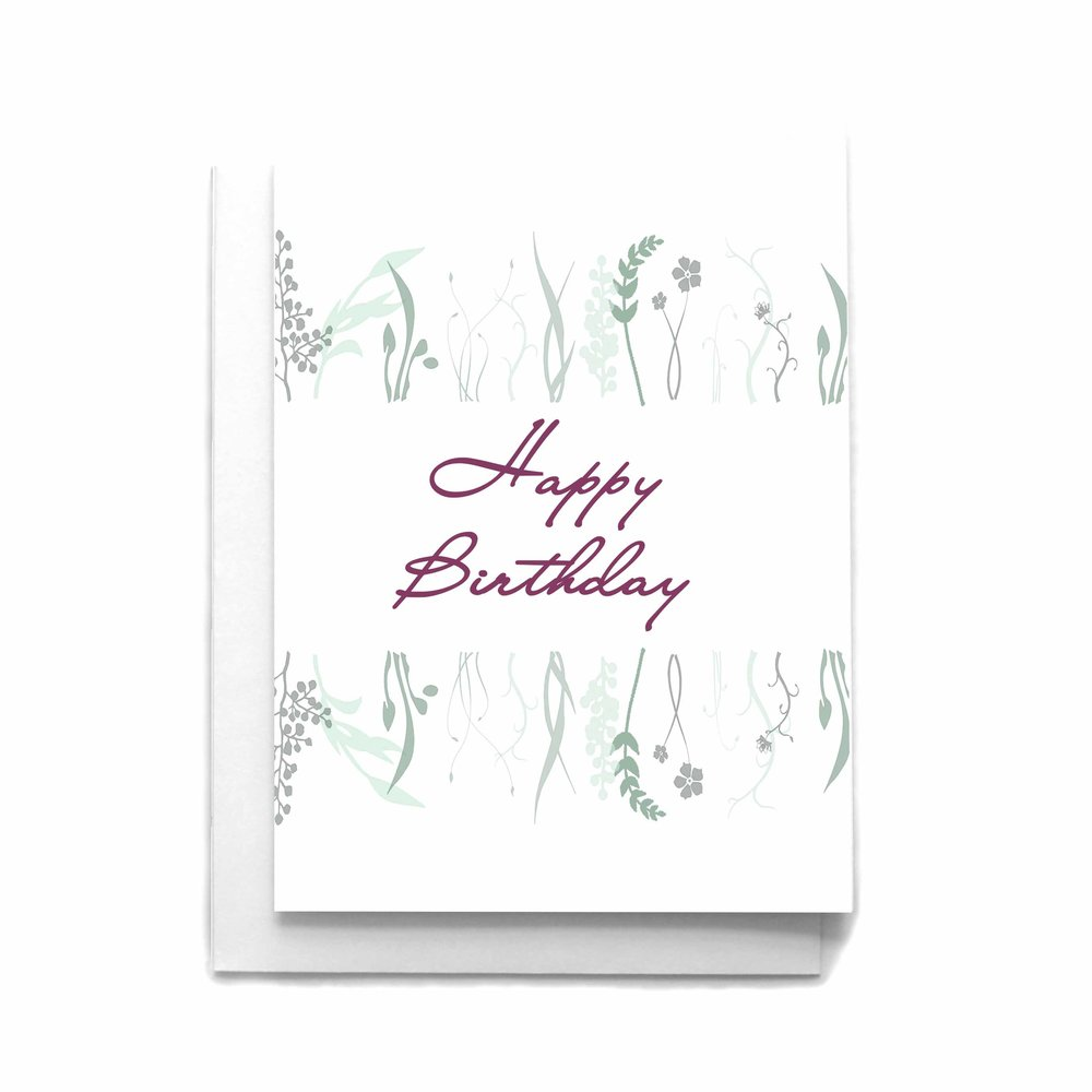 Birthday Greeting Card Watercolor Flowers