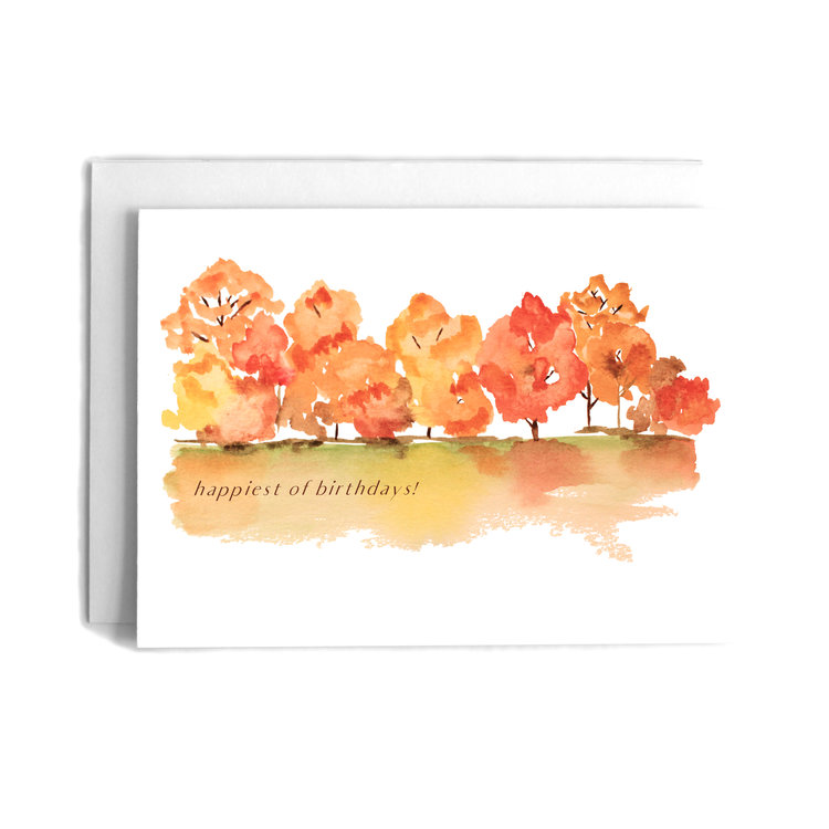 The shop cafe notes company birthday greeting card fall trees scene happiest of birthdaysg m4hsunfo