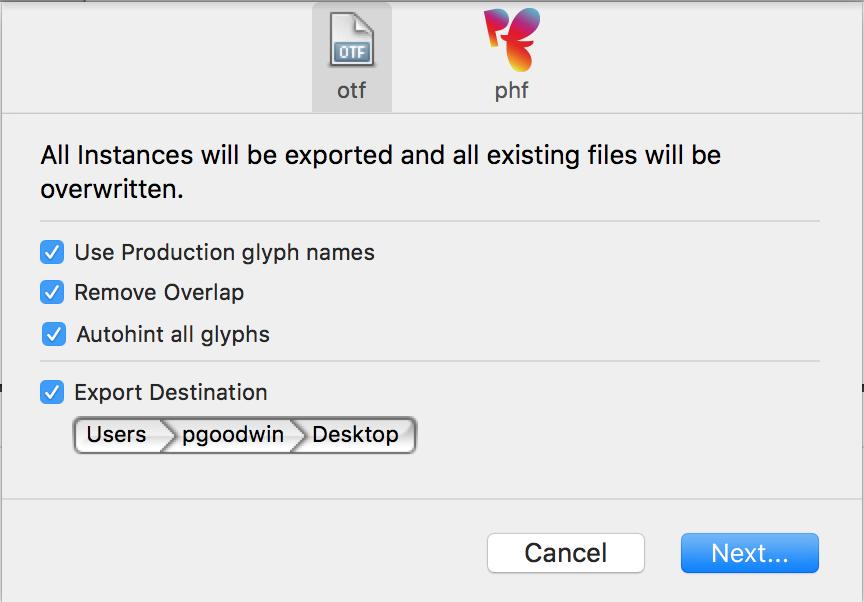 Export dialog box