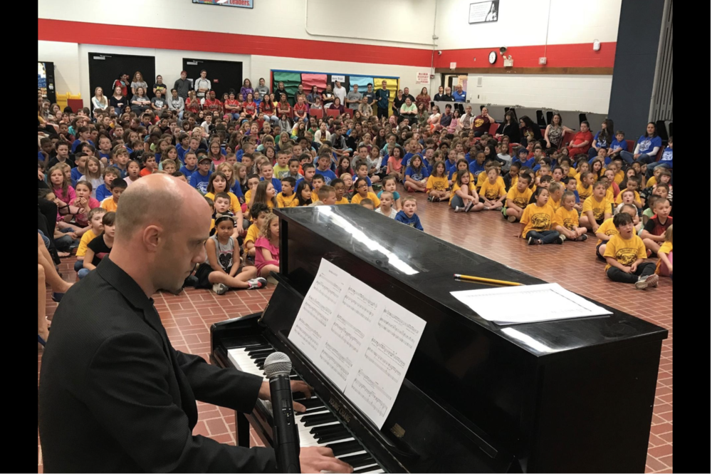 Leadership Day - On June 7th, I was asked back to my old elementary school. The school has such devoted teachers and such an incredible spirit. I was able to hear almost 400 children beautifully sing the alma mater I composed for them last December. I learned that they sing it every Friday at school. Click HEREfor a news article on leadership day.