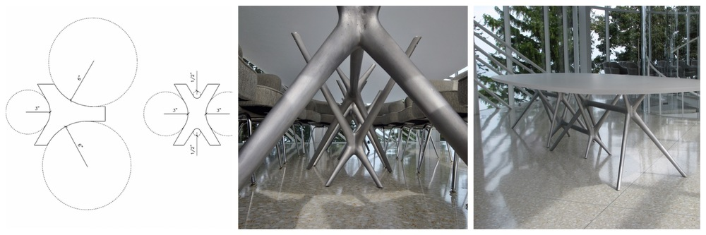 "Custom Cast Aluminum ""Radius"" Table Base - Design by  Dirk Denison Architects  Chicago"