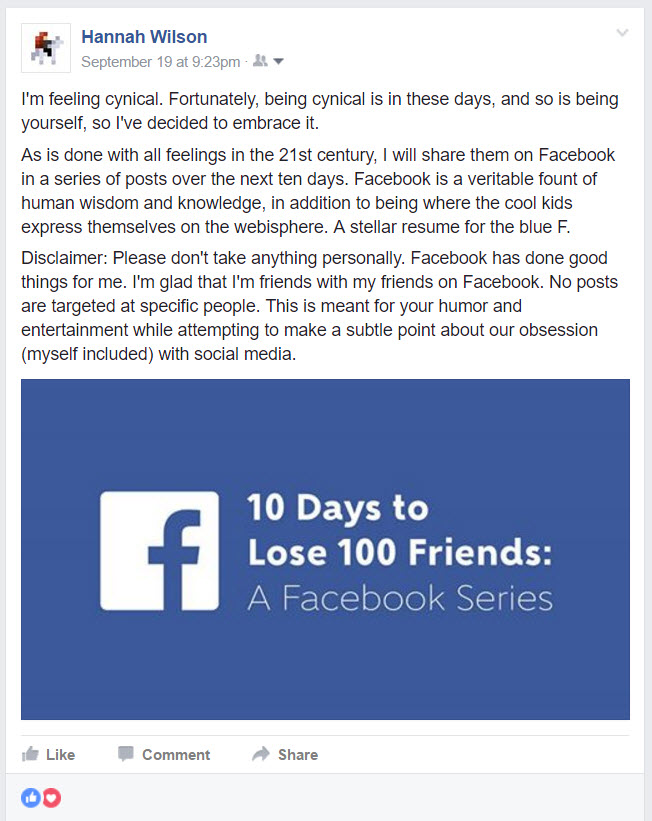 Introduction || 10 Days to Lose 100 Friends: A Sarcastic Facebook Post Series
