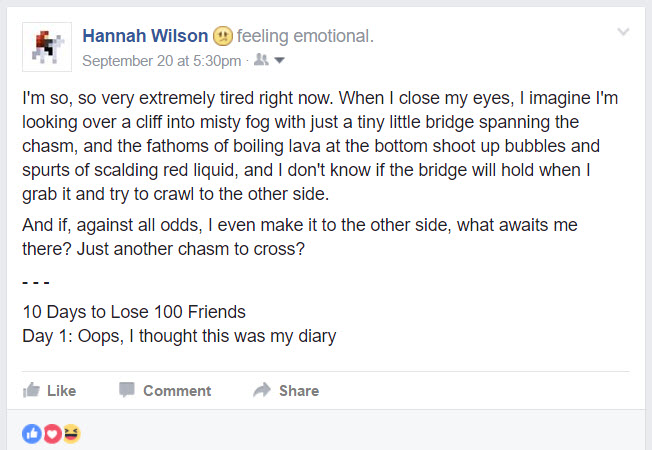 Oops, I thought this was my diary || 10 Days to Lose 100 Friends: A Sarcastic Facebook Post Series