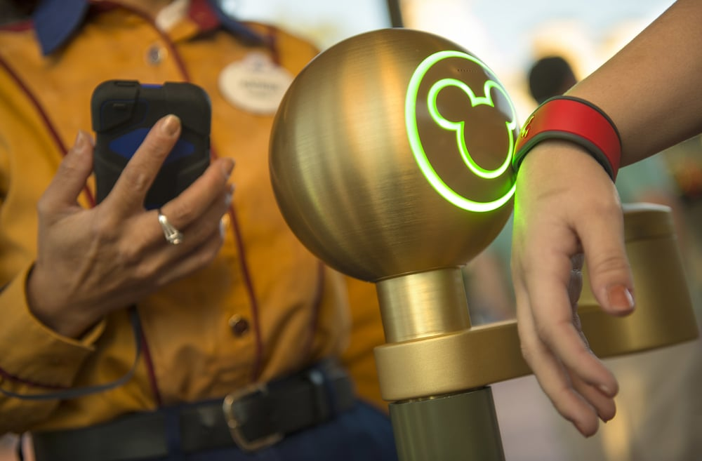 The MagicBand at Disney World acts as your admission ticket, FastPass, hotel key and credit card. Image via theamericangenius.com.